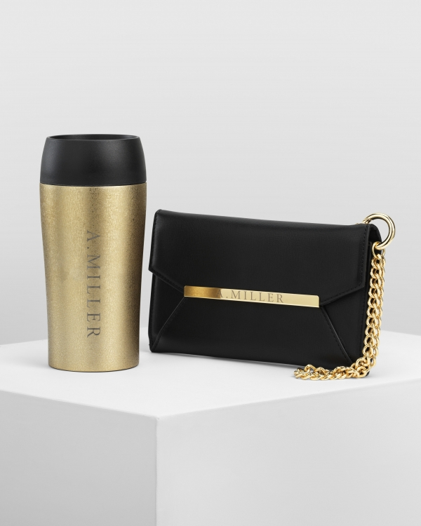 Wallet Pristine Black + Travel Mug